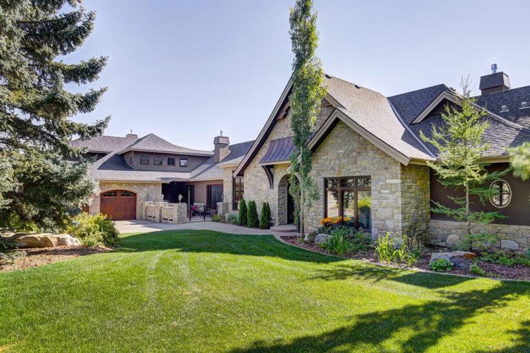 Luxury home architecture in Springbank Hill, Calgary Alberta neighbourhood.