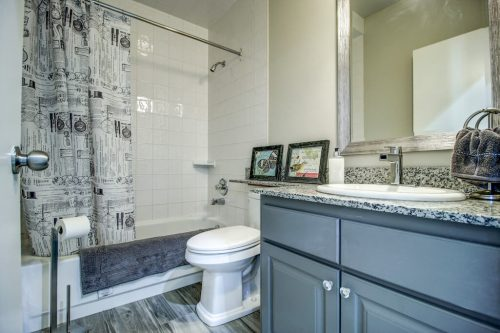 Bathroom with grey vanity, toilet, and tub.