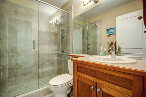 Bathroom with wood vanity and glass and tile shower.