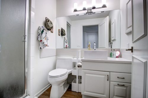 White bathroom with toilet, vanity, and shower.