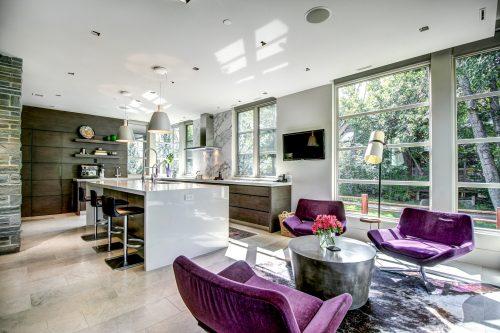 kitchen-purple-velve-chairs-mid-century-modern-kitchen-2605-Erlton-Street-SW-Calgary-Real-Estate-Homes-For-Sale-Realtor-Plintz-Luxury-Custom