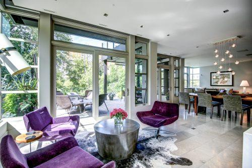 purple-mid-century-modern-suede-chairs-patio-2605-Erlton-Street-SW-Calgary-Real-Estate-Homes-For-Sale-Realtor-Plintz-Luxury-Custom