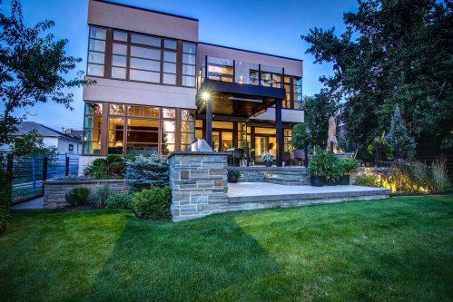 twilight-modern-beautiful-house-glass-windows-backyard-2605-Erlton-Street-SW-Calgary-Real-Estate-Homes-For-Sale-Realtor-Plintz-Luxury-Custom
