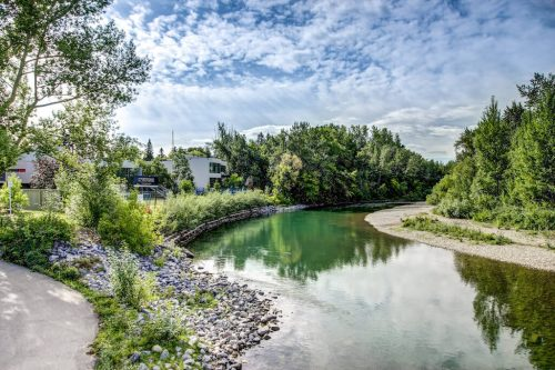 elbow-river-view-summer-trees-blue-sky-2605-Erlton-Street-SW-Calgary-Real-Estate-Homes-For-Sale-Realtor-Plintz-Luxury-Custom