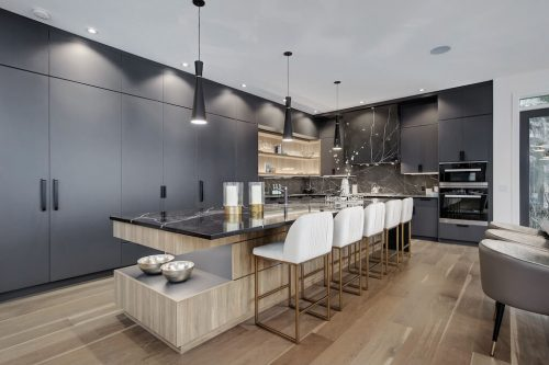 black-cabinetry-ultra-modern-kitchen-2432-Sovereign-Crescent-Sw-Scarboro-Calgary-Homes-for-sale-Plintz-real-estate-west-ridge-fine-homes