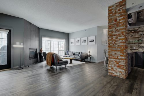 open-concept-hardwood-loft-brick-503-820-15-Avenue-SW-Calgary-Condo-Newbury-Beltline-Mount-Royal-Penthouse-For-Sale-Plintz-Real-Estate