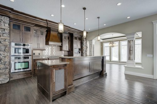 Luxury mahogany kitchen in acreage home for sale in Springbank Calgary.