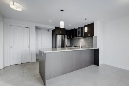 Condo kitchen with granite counters and dark cabinetry. Home for sale by Plintz Real Estate.