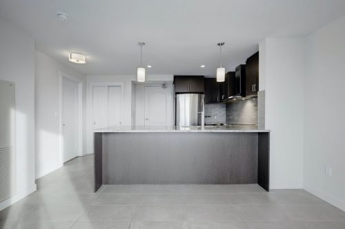 Dark modern kitchen in The Park condo. Home for sale by Plintz Real Estate.