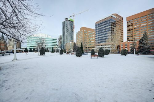 Central Memorial Park in Calgary Beltline in winter.