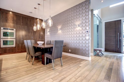 Dining-room-chandelier-wall-paper-modern-3819-12-Street-SW-Elbow-Park-Luxury-Real-Estate-Home-For-Sale-Calgary-Plintz-Realtor