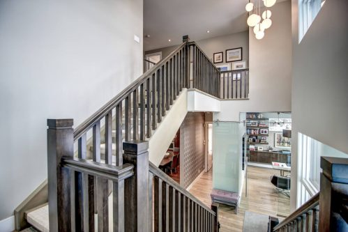 walnut-staircase-3819-12-Street-SW-Elbow-Park-Luxury-Real-Estate-Home-For-Sale-Calgary-Plintz-Realtor