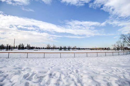 Snowy park in Willow Park in SE Calgary Alberta