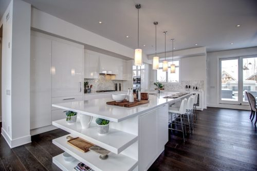 Open-shelving-island-white-luxury-kitchen-8-Victoria-Cross-Boulevard-SW-Empire-Custom-Homes-Townhouse-For-Sale-Plintz-Real-Estate-Calgary-Currie-Barracks-Realtor-Dennis