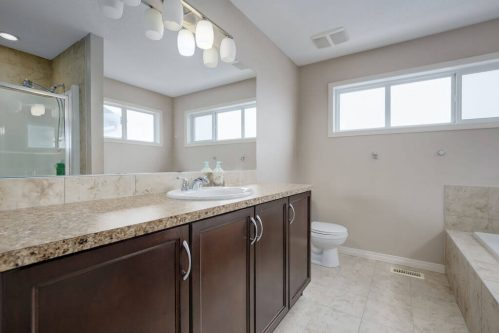 Ensuite-bathroom-dark-vanity-218-Kincora-Glen-Rise-NW-Calgary-Real-Estate-For-Sale-Plintz-Realtor-Realty-Walkout