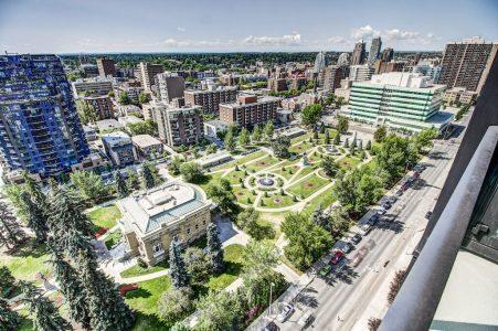 Aerial-View-Central-Memorial-Park-Point-Calgary-Beltline-Condo-310-12-Avenue-SW-Luxury-Plintz-Real-Estate