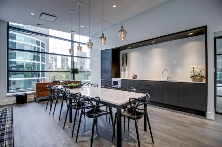 Kitchen-Dining-Residence-Social-Room-Park-Point-Calgary-Beltline-Condo-310-12-Avenue-SW-Luxury-Plintz-Real-Estate