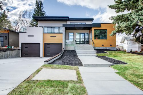 Modern architecture and design in luxury house built by West Ridge Fine Homes for sale by Plintz Real Estate in Calgary.