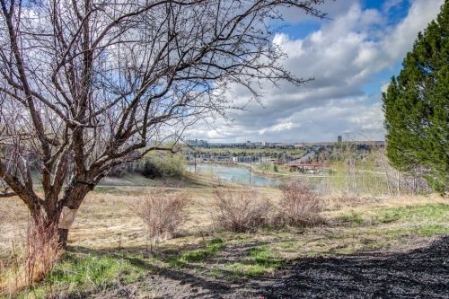 View of Bow River in Scarboro Calgary from 2434 Sovereign Crescent SW. Home for sale by Plintz Real Estate.