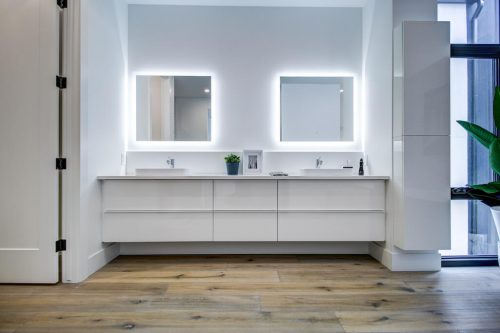 White high gloss double vanity sink with mirrors Calgary home for sale