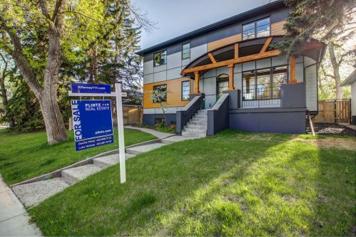 Front-modern-exterior-3119-Kilkenny-Drive-SW-Killarney-Calgary-Real-Estate-Homes-For-Sale-Plintz-Realtor-Dennis