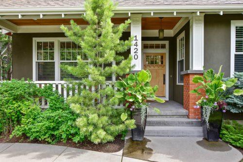 Front veranda with pine tree at 1420 Joliet Avenue SW