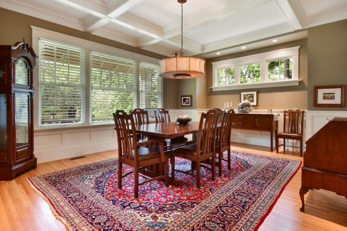 Dining room with large windows and coffered ceilings at 1420 Joliet Avenue SW