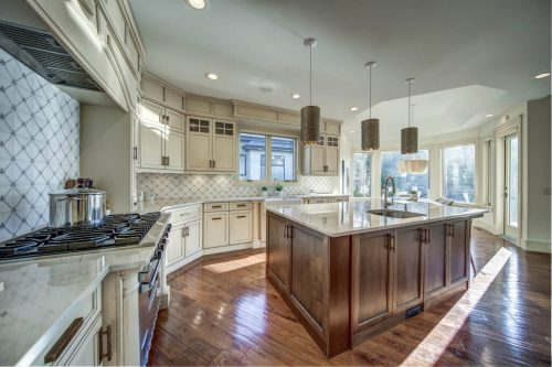 Gorgeous farmhouse custom kitchen in 11 Spring Valley Mews Luxury Home For Sale in Calgary Alberta