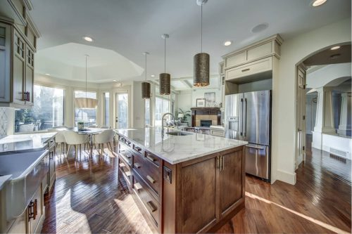 Kitchen island and breakfast nook at 11 Spring Valley Mews Luxury Home For Sale