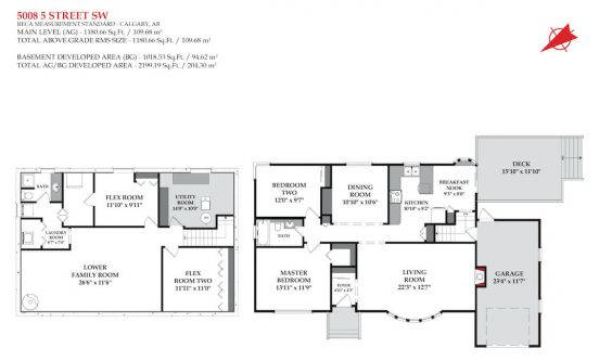 Floor plan of bungalow in Elboya, Calgary.