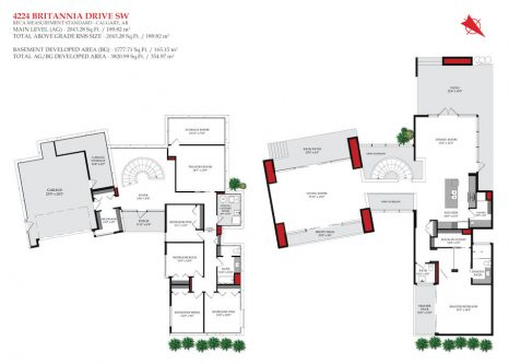 Detailed floorplan of 4224 Britannia Drive SW Luxury Bungalow for sale by Plintz Real Estate in Calgary, Alberta.