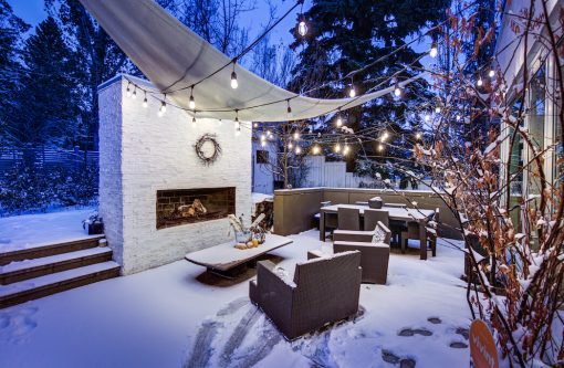 Outdoor wonderland winter patio in luxury inner city Calgary home for sale.