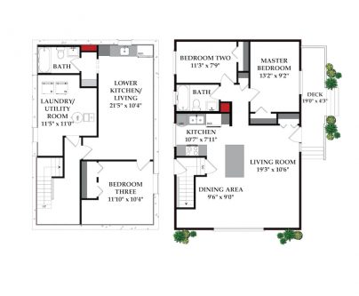 Floor plans of bungalow with secondary suite for sale in SE Calgary Alberta for sale by Plintz Real Estate.