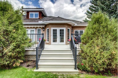 SW deck at 5555 Elbow Drive SW Country Club Estates in Calgary for sale by Plintz Real Estate