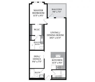Floorplan one bedroom Tribeca condo in Mission