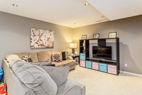 Fully developed basement at 287 Everglen Way SW for sale by Plintz Real Estate in Calgary Alberta.