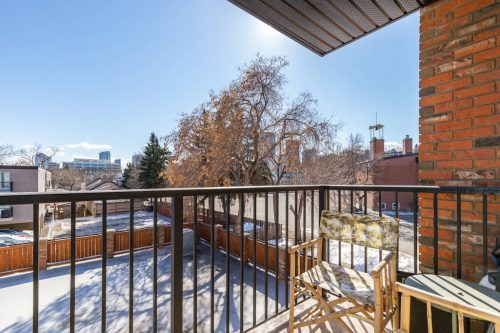 South patio with views of downtown Calgary