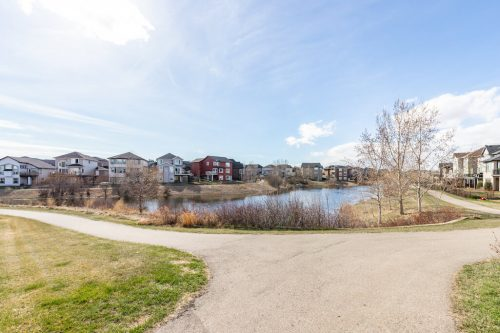 Rainbow Falls Pond and walking paths in Chestermere Alberta