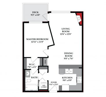 Floorplan of one bedroom one bathroom condo in Kabo Marda Loop Calgary