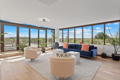 Floor-to-ceiling windows overlooking Mission in Calgary Riverstone