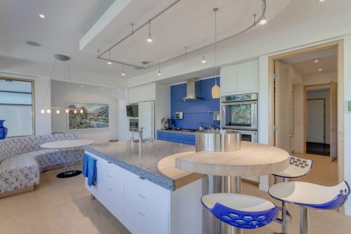 Retro blue Scandinavian inspired Denca kitchen at 120 Wildwood Drive SW Calgary for sale by Plintz Real Estate