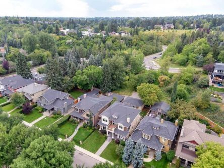 Aerial of home at 3023 7 Street SW in Elbow Park near the Glencoe Club
