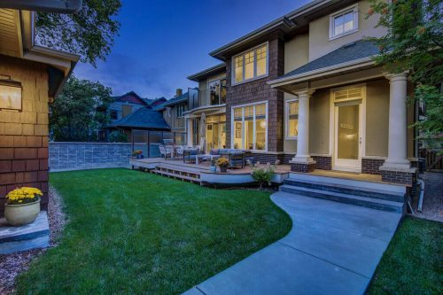 Beautiful backyard of luxury Elbow Park Home for sale